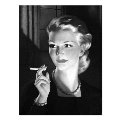 Kitsch Vintage Smoking Cigarette Pin-Up Girl Postcard