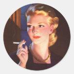 Kitsch Vintage Smoking Cigarette Pin-Up Girl Sticker