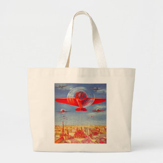 Kitsch Vintage Soviet Propoganda Planes in Moscow Large Tote Bag