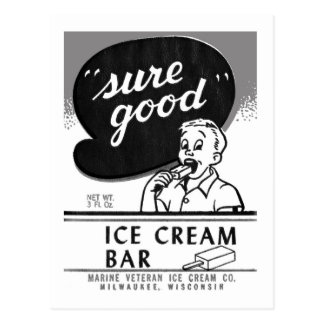 Kitsch Vintage Sure Good Ice Cream Bar Postcard