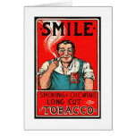 Kitsch Vintage Tobbaco Smoking 'Smile' Brand Card