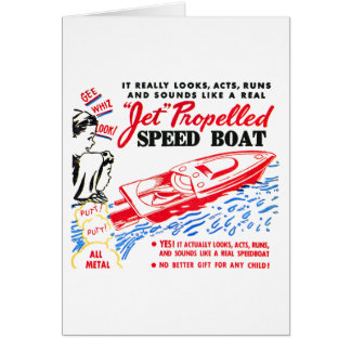 Kitsch Vintage Toy Ad 'Jet Propelled Speed Boat' Card