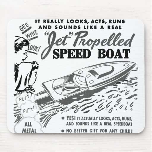 Kitsch Vintage Toy Ad 'Jet Propelled Speed Boat' Mouse Pads