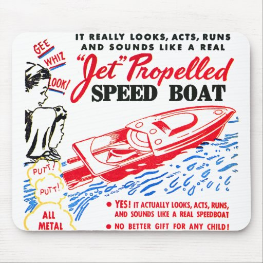 Kitsch Vintage Toy Ad 'Jet Propelled Speed Boat' Mouse Pad