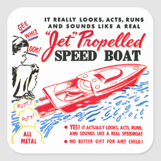Kitsch Vintage Toy Ad 'Jet Propelled Speed Boat' Square Sticker