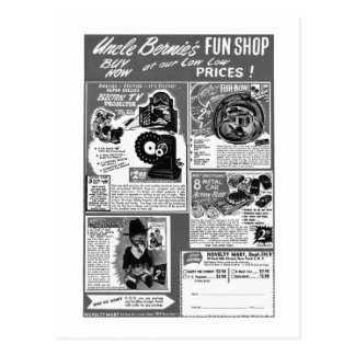 Kitsch Vintage Toy Ad  'Uncle Bernie's' Post Cards