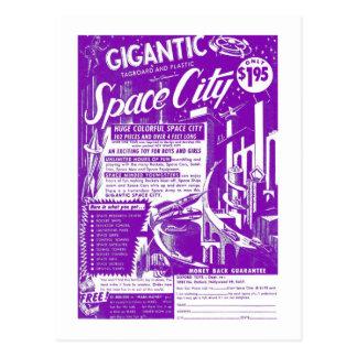 Kitsch Vintage Toy Gigantic Space City Postcard
