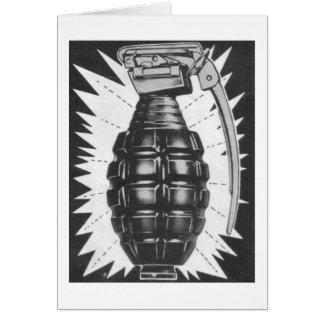 Kitsch Vintage Toy Hand Grenade Ad Art Card