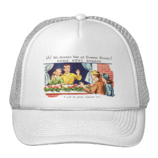Kitsch Vintage We Missed You Sunday School Hats