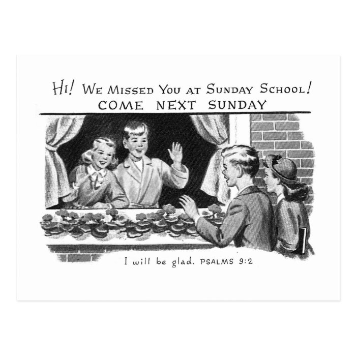 Kitsch Vintage We Missed You Sunday School Postcard