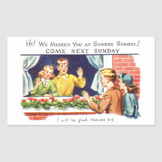 Kitsch Vintage We Missed You Sunday School Rectangular Sticker