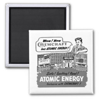 Kitsch Vintage With Atomic Energy Chemistry Set 2 Inch Square Magnet