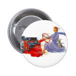 Kitsch Vintage Woman Driving The Engine Pinback Button