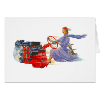 Kitsch Vintage Woman Driving The Engine Greeting Cards