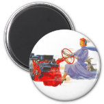 Kitsch Vintage Woman Driving The Engine Magnets