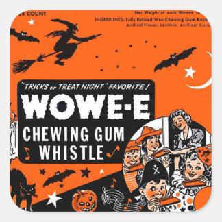 Kitsch Vintage Wowee Wax Gum Halloween Square Sticker