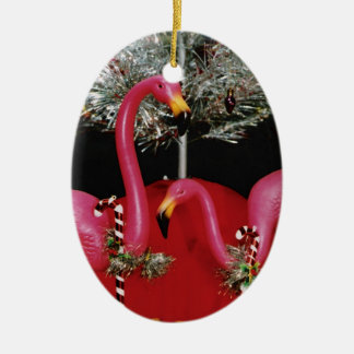 Kitschy Khristmas Double-Sided Oval Ceramic Christmas Ornament