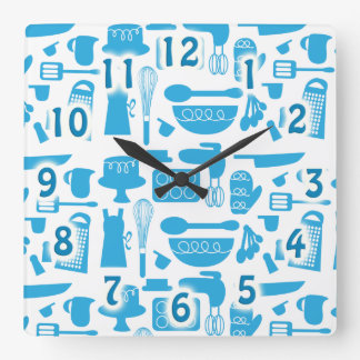 Kitschy Kitchenware Too Square Wall Clock
