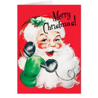 Kitschy Santa Claus on the Phone Merry Christmas Card