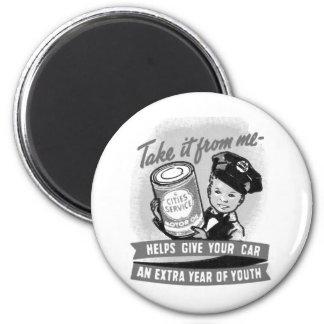 Kitssch Vintage Gas Service Station Kid Ad 2 Inch Round Magnet