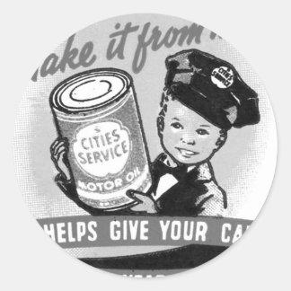 Kitssch Vintage Gas Service Station Kid Ad Classic Round Sticker