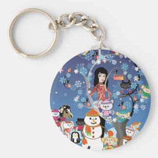 Kitsu Winter Collage Keychain