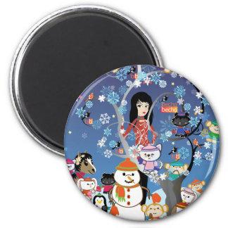 Kitsu Winter Collage Magnet