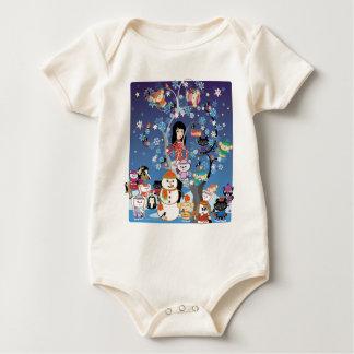 Kitsu Winter Collage Organic Baby Bodysuit