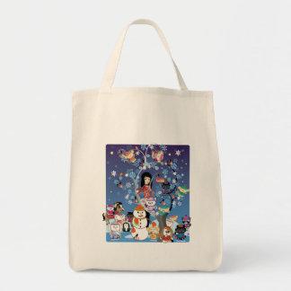 Kitsu Winter Collage Organic Grocery Tote Bags