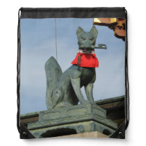 Kitsune キツネ (Fox) with Key in Mouth Drawstring Backpack