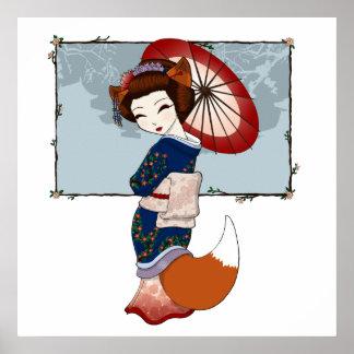Kitsune Geisha Prints Posters