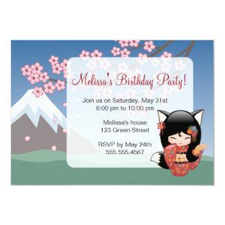 Kitsune Kokeshi Doll, Black Fox Birthday Party Card