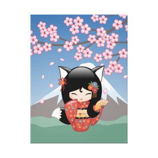 Kitsune Kokeshi Doll - Black Fox Geisha Girl Canvas Print