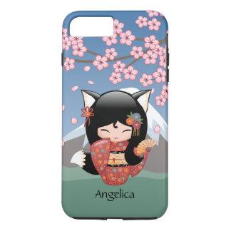 Kitsune Kokeshi Doll - Black Fox Geisha Girl iPhone 7 Plus Case