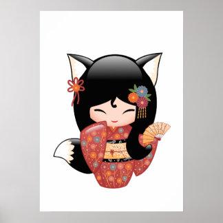 Kitsune Kokeshi Doll - Black Fox Geisha Girl Poster