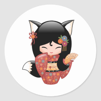 Kitsune Kokeshi Doll - Black Fox Girl Classic Round Sticker