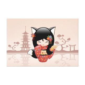 Kitsune Kokeshi Doll - Cute Black Fox Girl Canvas Print