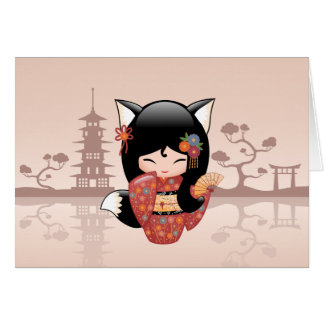 Kitsune Kokeshi Doll - Cute Black Fox Girl Card
