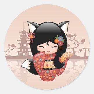 Kitsune Kokeshi Doll - Cute Black Fox Girl Classic Round Sticker