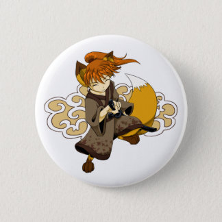 Kitsune Samurai Button
