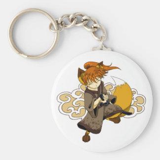 Kitsune Samurai Basic Round Button Keychain