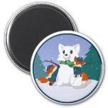 Kitsune Snow Day Magnets