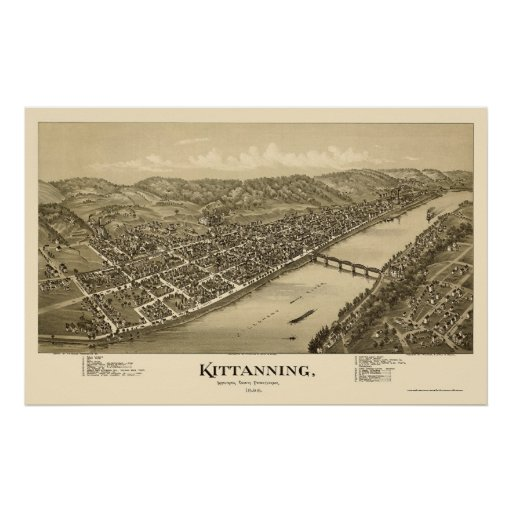 Kittanning, mapa panorámico del PA - 1896 Póster