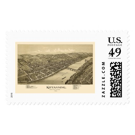 Kittanning, mapa panorámico del PA - 1896 Timbres Postales