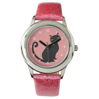 Kitteh Lurve - Black Kitty Custom Color Background Watches