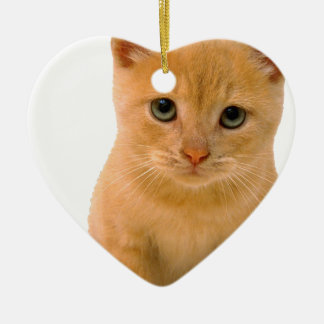 Kitteh.png Double-Sided Heart Ceramic Christmas Ornament