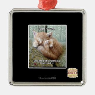Kitteh rule #231 square metal christmas ornament