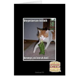Kitteh vegetariano tarjeta de felicitación