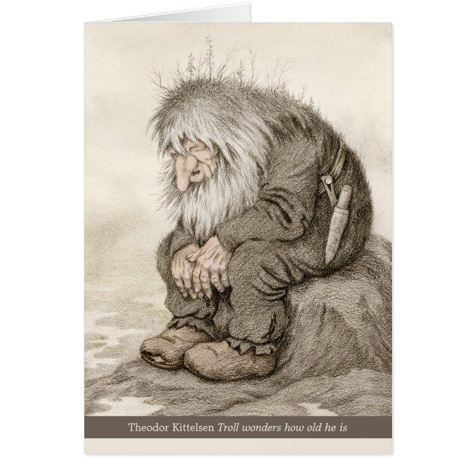 Kittelsen Troll wonders how old he is CC0231 Card
