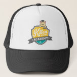 "Kitten Academy Crest Trucker Hat<br><div class=""desc"">This is the charming crest designed by twitter user @cookiesnomore,  which is featured on our &quot;Technical Difficulties&quot; screen.</div>"